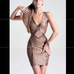 BeBe bronze sequin mini dress